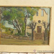 Arte: OLEO / TABLILLA ENTELADA - ILEGIBLE - PAISAJE CON ERMITA. Lote 37819050