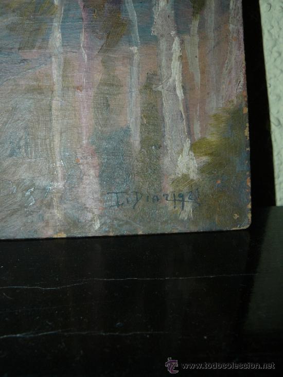 Arte: OLEO / CARTÓN - FDO. I DIAZ - 1921 - PAISAJE - Foto 4 - 37901999
