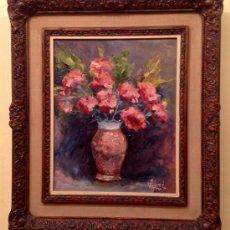 Arte: CUADROS DEL PINTOR JOSEP CALOMÉR COMAS 1935 - 2002 / BODEGÓN DE FLORES MEDIDAS 54 X 62 CM. Lote 37921339