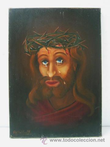 ECCE HOMO JESUS - INTERESANTE PINTURA AL OLEO FIRMADA EN PARIS 1969 (Arte - Pintura - Pintura al Óleo Contemporánea )
