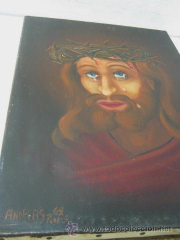 Arte: Ecce Homo Jesus - Interesante Pintura al oleo firmada en Paris 1969 - Foto 2 - 37943123