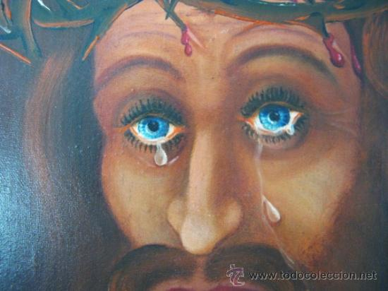Arte: Ecce Homo Jesus - Interesante Pintura al oleo firmada en Paris 1969 - Foto 3 - 37943123