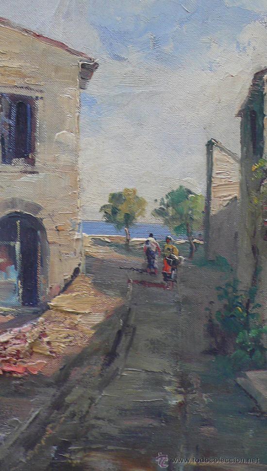 Arte: vista de la Ampolla, Tarragona, óleo sobre lienzo enmarcado 92x77cm. Firmado, . - Foto 4 - 38008192