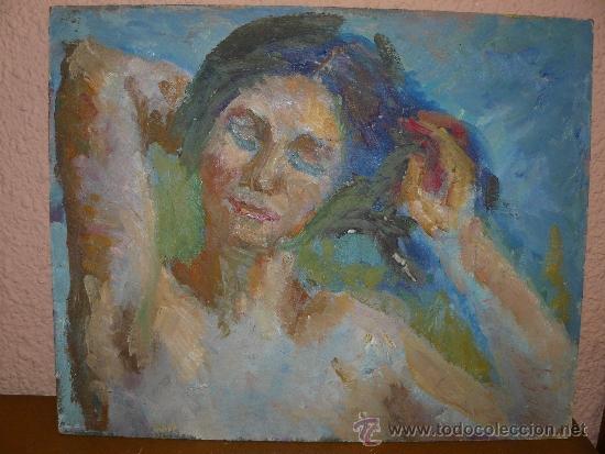 OLEO / TABLEX - M.G.S. (REVERSO) - RETRATO FEMENINO (Arte - Pintura - Pintura al Óleo Contemporánea )