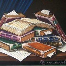Arte: LIENZO BODEGÓN DE LIBROS, FIRMA J. MONBLANCH. Lote 38024885