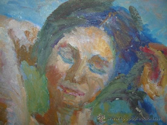 Arte: OLEO / TABLEX - M.G.S. (REVERSO) - RETRATO FEMENINO - Foto 2 - 38020856