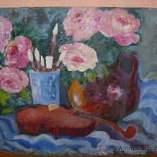 Arte: OLEO / TABLILLA ENTELADA - ANÓNIMO - ROSAS Y VIOLÍN. Lote 38036658