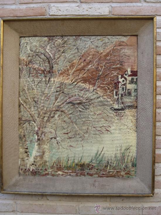 CUADRO ANTIGUO PINTADO AL OLEO SOBRE TABLEX. (Arte - Pintura - Pintura al Óleo Moderna sin fecha definida)
