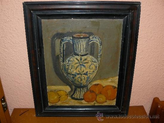OLEO / CARTÓN - FDO L OLIVÉ - 1943 - JARRÓN CON FRUTAS (Arte - Pintura - Pintura al Óleo Contemporánea )