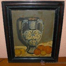 Arte: OLEO / CARTÓN - FDO L OLIVÉ - 1943 - JARRÓN CON FRUTAS. Lote 38052314