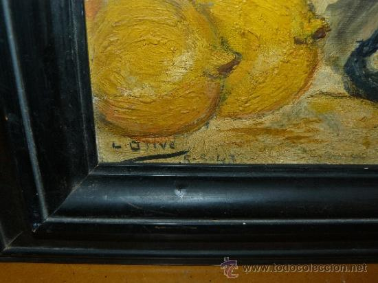 Arte: OLEO / CARTÓN - FDO L OLIVÉ - 1943 - JARRÓN CON FRUTAS - Foto 4 - 38052314