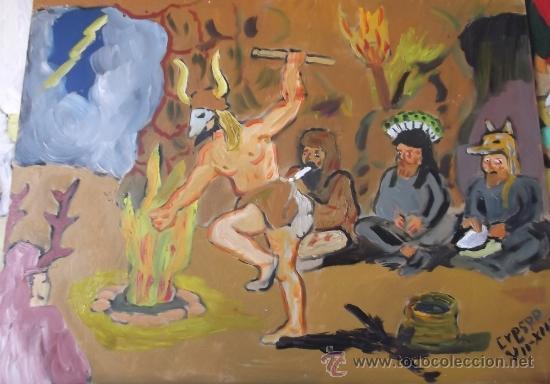 PREHISTORIA , EL CHAMAN DANZA A LOS ESPIRITUS DE LA TORMENTA, ÓLEO TABLA 30X40 DE CRESPO (Arte - Pintura Directa del Autor)