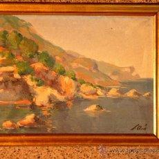 Arte: ÓLEO SOBRE TELA DEL PINTOR SALVADOR ARÍS(RUBÍ 1919).AIGUA BLAVA.COSTA BRAVA.. Lote 38099356