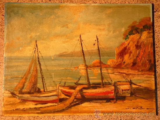 ÓLEO SOBRE TABLA.J.ALSINA.ESCUELA CATALANA. (Arte - Pintura - Pintura al Óleo Contemporánea )
