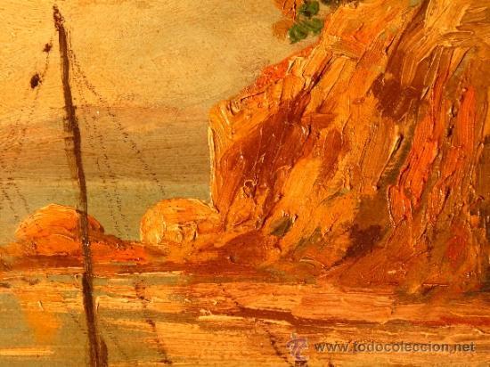 Arte: óleo sobre tabla.J.Alsina.Escuela catalana. - Foto 2 - 39238984