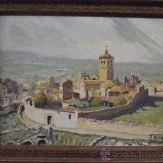 Arte: PAISAJE CON VISTA DE PUEBLO, FIRMADO A PLATA. Lote 38138184