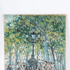 Arte: CUADRO OLEO SOBRE PAPEL Y SOBRE TABLA, RAMBLA BARCELONA FIRMADO M. OLIVER. Lote 38155694