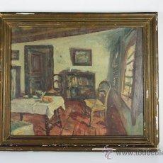 Arte: A1-050. OLEO SOBRE LIENZO FIRMADO ¿J. PERRIN? Y FECHADO EN 1946 - INTERIOR. Lote 38254608