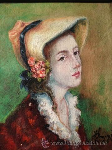 RETRATO DE DAMA, PINTURA AL OLEO SOBRE TELA, ENMARCADA, FIRMA MIRÒ, 46 (Arte - Pintura - Pintura al Óleo Contemporánea )