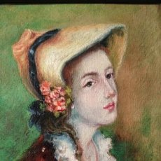 Arte: RETRATO DE DAMA, PINTURA AL OLEO SOBRE TELA, ENMARCADA, FIRMA MIRÒ, 46. Lote 176272327