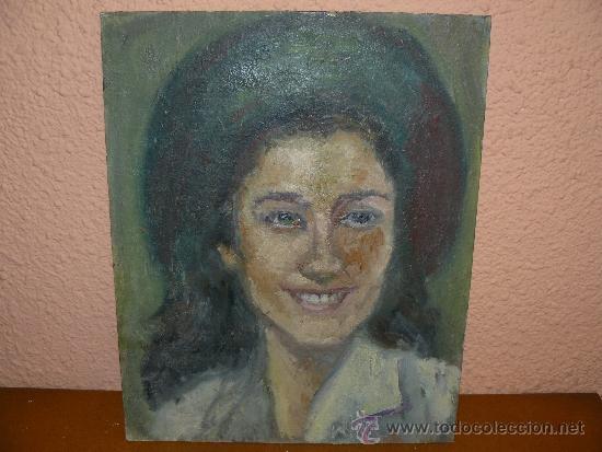OLEO / TABLILLA ENTELADA - M.G.S. (REVERSO) - ROSTRO FEMENINO (Arte - Pintura - Pintura al Óleo Contemporánea )