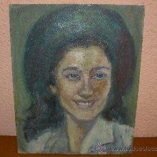 Arte: OLEO / TABLILLA ENTELADA - M.G.S. (REVERSO) - ROSTRO FEMENINO. Lote 38329723