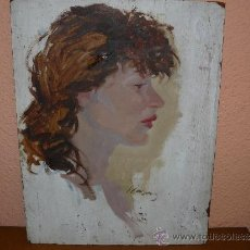 Arte: OLEO / TABLEX - FIRMADO J CASAS - ROSTRO FEMENINO. Lote 38358771