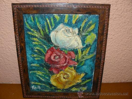 OLEO / TELA - FDO F COLL / ROSAS (Arte - Pintura - Pintura al Óleo Contemporánea )
