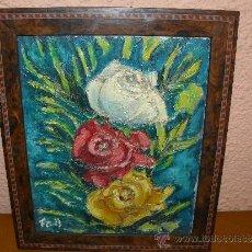 Arte: OLEO / TELA - FDO F COLL / ROSAS. Lote 38370002