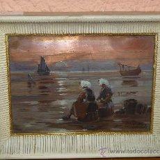 Arte: OLEO / COBRE - ESTUDI ARTS - PESCADORAS ESPERANDO. Lote 38642760