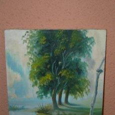 Arte: OLEO / TELA - RITA - LAGO Y ÁRBOLES. Lote 38643321