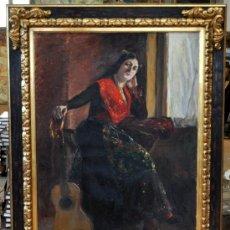 Arte: AGUSTIN OTERMIN Y GARCIA BUSTAMANTE (ASTURIAS, 1870 - 1926) OLEO SOBRE TELA. MANOLA CON GUITARRA. Lote 38782624