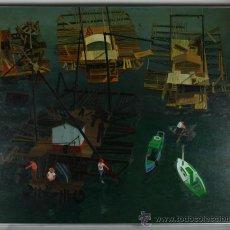 Arte: A3-032. JAUME RIUS I BACH (1948-2007) VISIÓ DEL PORT OLEO SOBRE TABLA AÑO 1975 119*99 CM. Lote 38839118