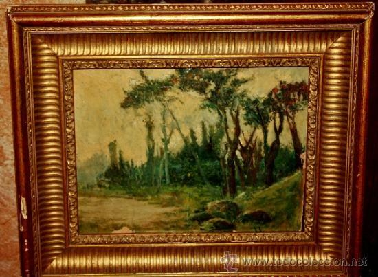 OLEO SOBRE CARTON PARECE PINTURA INGLESA (Arte - Pintura - Pintura al Óleo Moderna siglo XIX)
