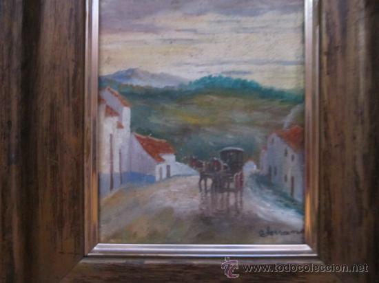 Arte: Pintura de paisaje al óleo sin fecha determinada, Firma ? Serrano. Marco de madera - Foto 2 - 39166533