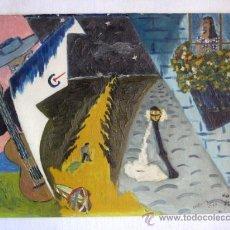 Arte: NAIF. OLEO SOBRE TABLA. FIRMADO 1960. NOCHE DE RONDA. ENVIO CERTIFICADO GRATIS¡¡¡. Lote 39181970