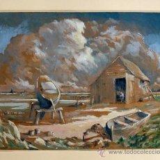 Arte: MARAVILLOSA MARINA ESTILO IMPRESIONISTA FIRMADA RCM WATT, EXCELENTE CALIDAD, 42 X 36 CM. Lote 39275145