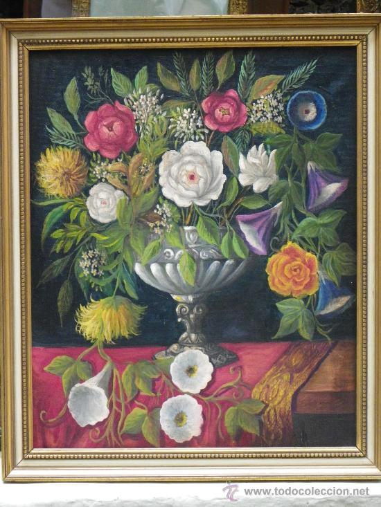 CUADRO FLORERO AL ÓLEO (Arte - Pintura - Pintura al Óleo Antigua sin fecha definida)
