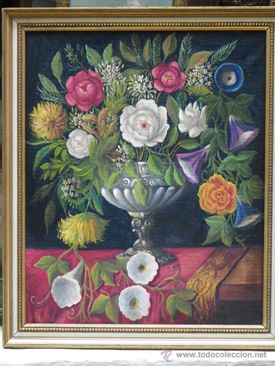 Arte: cuadro florero al óleo - Foto 2 - 39285084