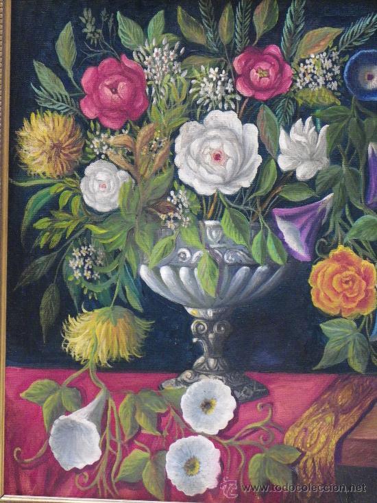 Arte: cuadro florero al óleo - Foto 3 - 39285084