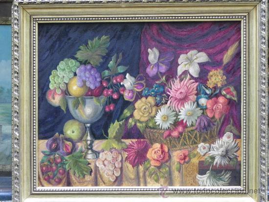 ORIGINAL BODEGÓN DE FLORES Y FRUTAS OLEO/LIENZO. (Arte - Pintura - Pintura al Óleo Antigua sin fecha definida)