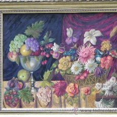Arte: ORIGINAL BODEGÓN DE FLORES Y FRUTAS OLEO/LIENZO.. Lote 39285196