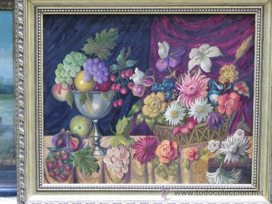 Arte: Original bodegón de flores y frutas oleo/lienzo. - Foto 2 - 39285196