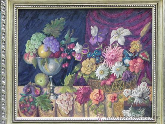 Arte: Original bodegón de flores y frutas oleo/lienzo. - Foto 3 - 39285196