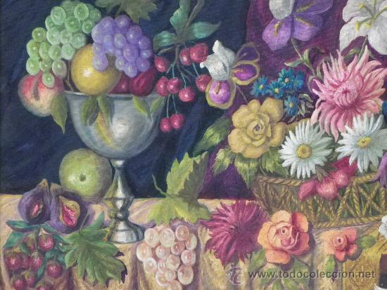 Arte: Original bodegón de flores y frutas oleo/lienzo. - Foto 4 - 39285196