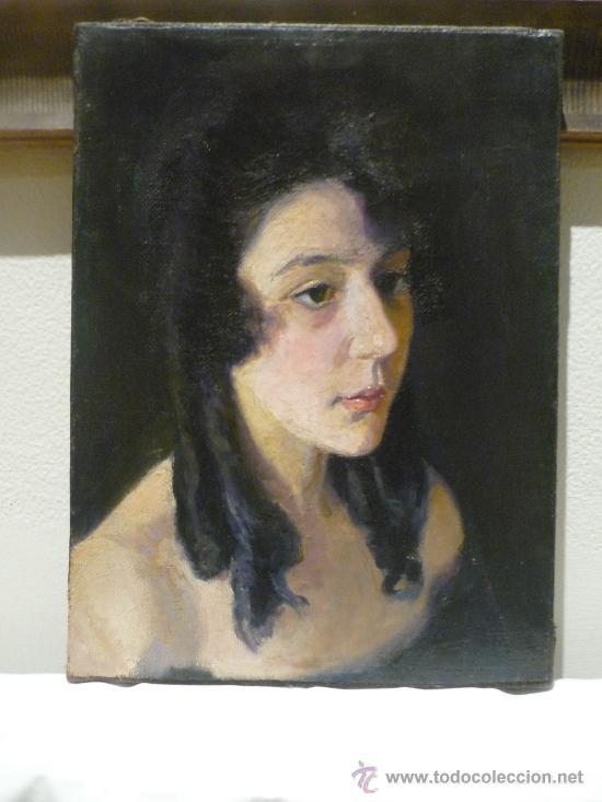 AURELI TOLOSA (1861-1938). RETRATO DE MUJER JOVEN. OLEO SOBRE TELA. (Arte - Pintura - Pintura al Óleo Moderna sin fecha definida)
