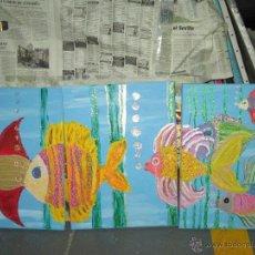 Arte: LOTE 3 CUADROS PECES AUTOR AFICIONADO. Lote 39383948