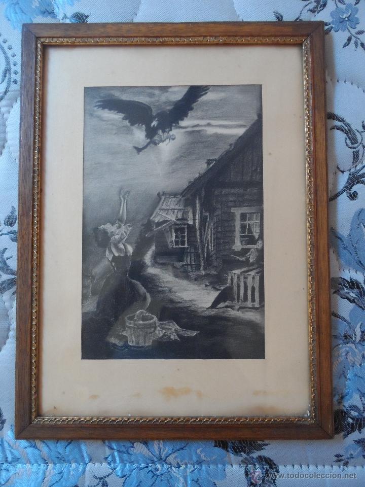 DIBUJO A LAPIZ CARBON - PESADILLA - BEBE ROBADO - BUENA CALIDAD (Arte - Pintura - Pintura al Óleo Moderna siglo XIX)