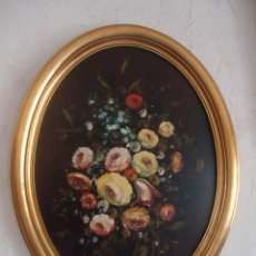 Arte: PINTURA AL OLEO SOBRE TABLEX MARCO ESTUCO OVALADO BODEGÓN FIRMA HEN. Lote 39558795
