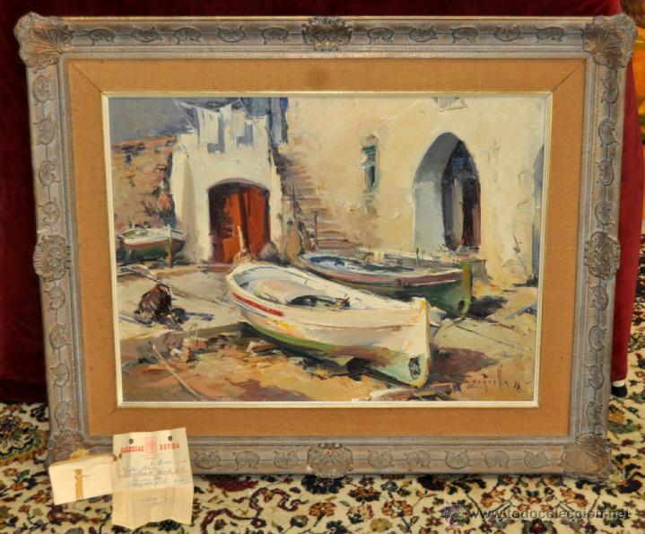 JOSEP SARQUELLA ESCOBET (LLAGOSTERA, 1928 - BARCELONA, 2000) OLEO SOBRE LIENZO. CADAQUÉS (Arte - Pintura - Pintura al Óleo Contemporánea )